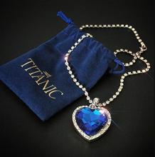 Titanic Heart of Ocean blue heart love forever pendant Necklace + velvet bag cheap LOYE Zinc Alloy Pendant Necklaces Women Other(Other) 34mm*45mm All Compatible NL094 TRENDY Box Chain CRYSTAL Blue and Red