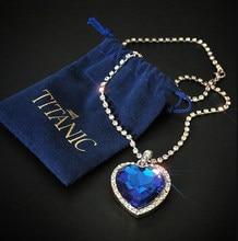 Titanic coração do oceano coração azul amor para sempre pingente colar + saco de veludo
