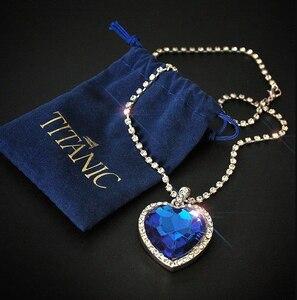 Titanic Heart of Ocean blue heart love forever pendant Necklace + velvet bag(China)