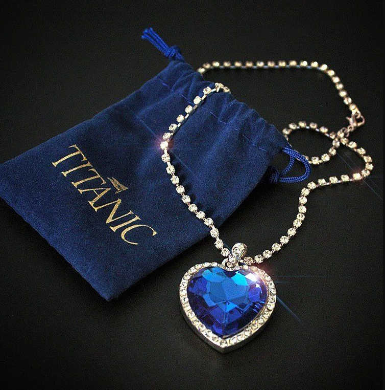 Titanic Herz der Ozean blau herz liebe für immer anhänger Halskette + samt tasche
