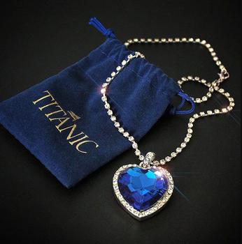 Titanic serce oceanu niebieskie serce miłość na zawsze naszyjnik + aksamitna torba tanie i dobre opinie LOYE Ze stopu cynku Wisiorek naszyjniki Kobiety Other(Other) 34mm*45mm Wszystko kompatybilny NL094 TRENDY Łańcuch okno