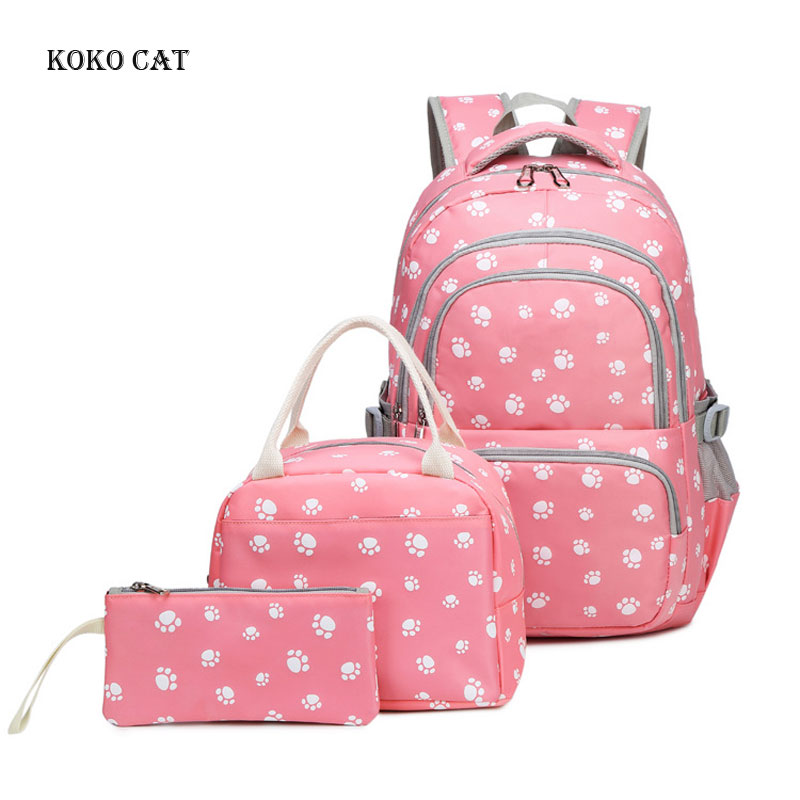 3 Pcs sets High Quality Canvas School Bag Set Fashion Backpack for Teenagers Girls Women 39 s Daily Bags Mochila Escolar Mujer in Backpacks from Luggage amp Bags