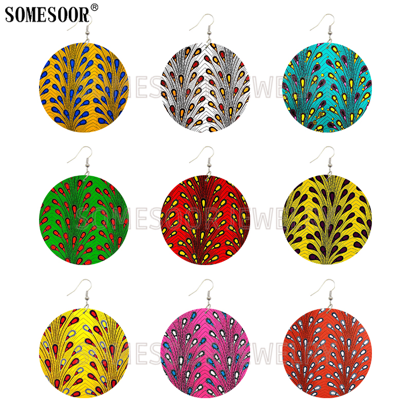 SOMESOOR Jewelry African Ankara Fashion Style Print Fabric Wooden Both Sides Printing Round Earrings For Women Gifts