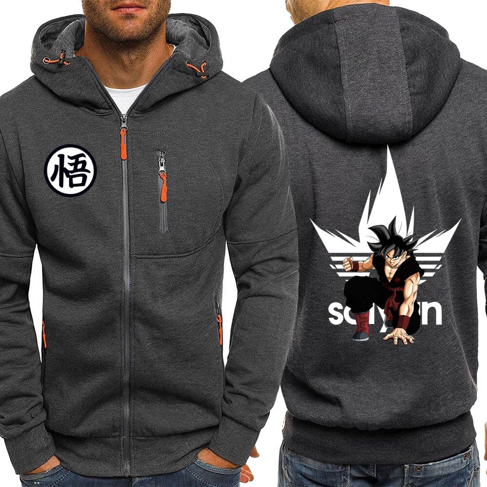 Mens Hoodies Anime Dragon Ball Z Casual Sweatshirt Sportswear Streetwear Hoodie Men 2019 Autumn Winter Zip Hooded Jacket Hoody