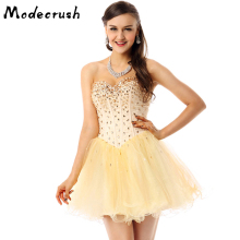Modecrush Women Vanilla Cream Prom Cocktail Dress Party Rhinestones Beaded Mini Tulle Homecoming Dresses Graduation Sweetheart