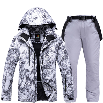 Outdoor Mens Ski Suit Thickening Super Warm Snowboard Jacket Set Winter Snow Pants Suits Male Skiing Snowboarding Sets -30 Degre
