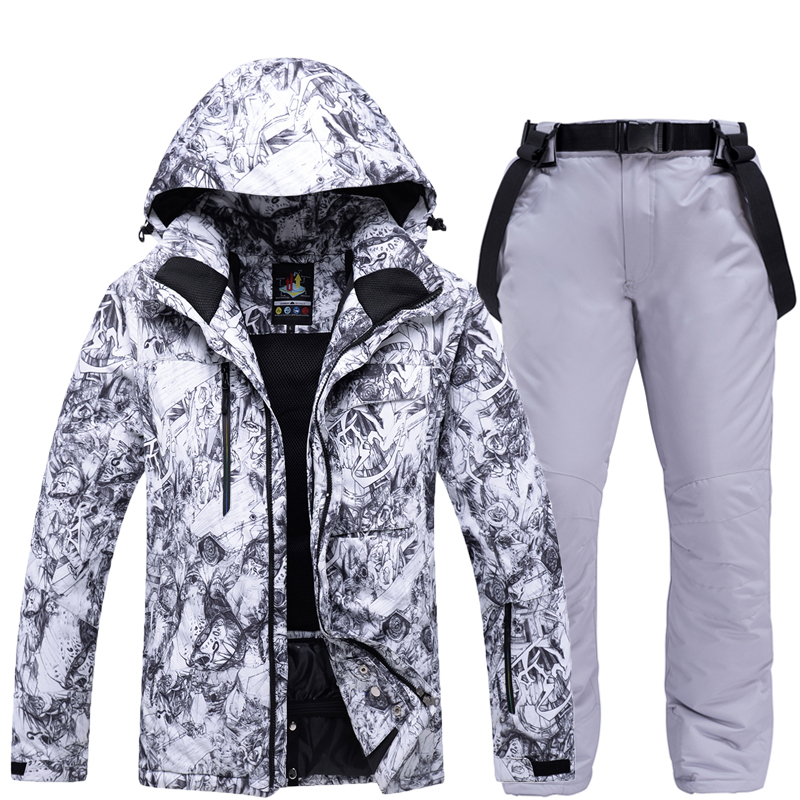 Outdoor Mens Ski Suit Thickening Super Warm Waterproof Windproof Snowboard Jacket Set Winter Snow Pants Suits Male Skiing Snowboarding Clothes Sets -30 Degree Men Skiing Jackets + Pants