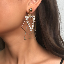цена на Trendy Earrings For Women Geometric Triangle And Irregular Shape Pendant Shining Decoration Asymmetrical Drop Earrings Female