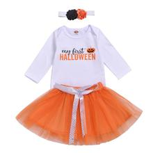 Infants Toddler Girls halloween baby cute clothing set Long Sleeve Tee Shirt + Tutu Skirt 3pcs Headband