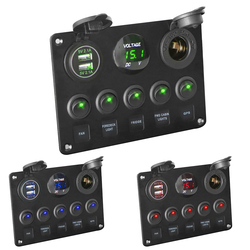 LEEPEE Digital Voltmeter Dual USB Port 12V Outlet Combination Waterproof for Car Marine Ship LED Toggle Rocker Switch Panel