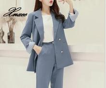 Autumn and winter new suit female casual temperament autumn fashion Slim solid color coat two-piece