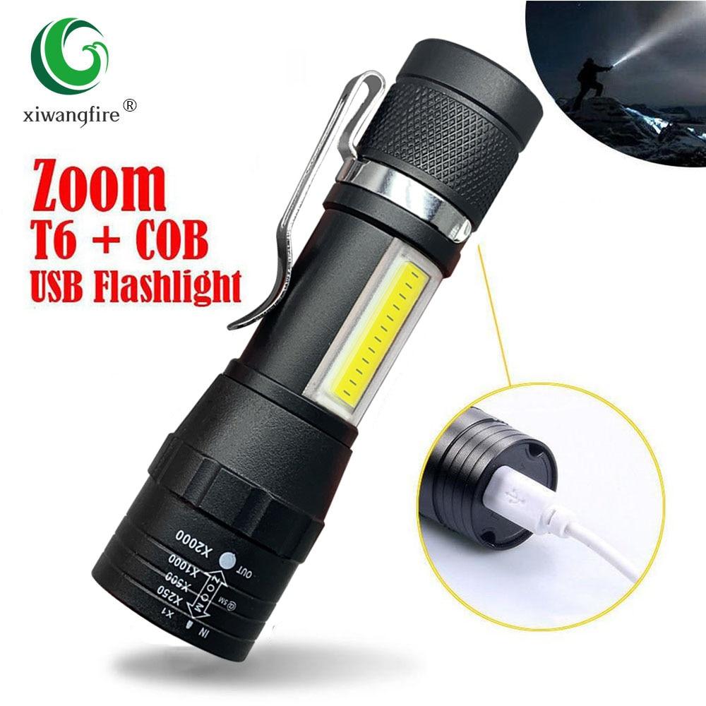 Портативный светодиодный светильник T6 COB светильник перезаряжаемый светильник для вспышки встроенный аккумулятор Zoom Flash светильник 3 режим...