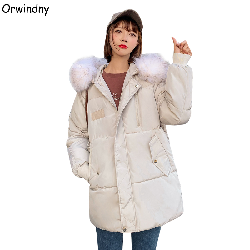 Orwindny New Woman Winter Jacket Large Fur Coat Hooded Female Jacket Down Cotton Padded   Parka   Women Thick Warm Winter Clothing
