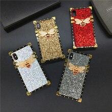 Роскошный блестящий квадратный чехол для телефона, чехол с Пчелкой для Samsung Galaxy S20 Ultra S10 Plus S8 S9 S21 Plus Note 20 10 9 8 J4 J6 A50 A51 A71