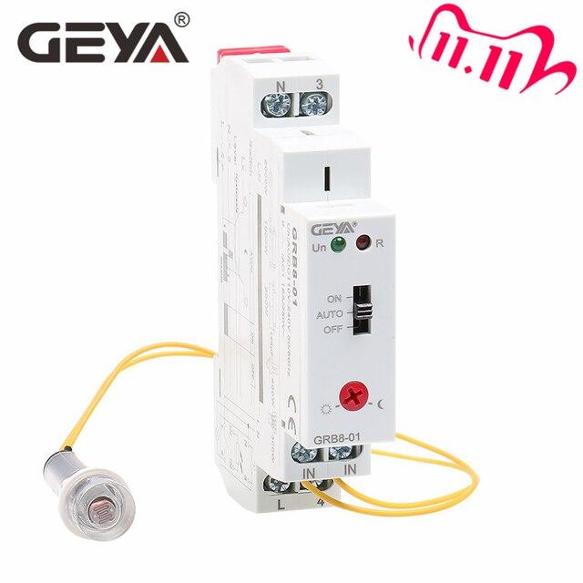 Darmowa wysyłka GEYA GRB8 01 szyna Din przełącznik zmierzchowy fotoelektryczny zegar czujnik światła przekaźnik AC110V 240V Auto ON OFF