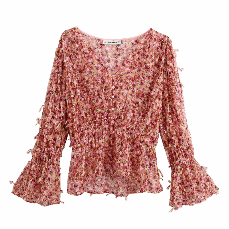 New 2020 Women Elegant V Neck Flare Sleeve Printing Casual Chiffon Blouse Female Texture Shirts Leisure Chic Chemise Tops LS6550