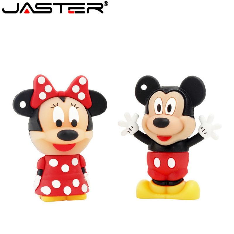JASTER Cartoon 4GB Mickey Minnie 2 Style Usb Flash Drive Usb 2.0 8GB 16GB 32GB 64GB Pendrive Gift U Disk