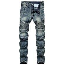 Motocicleta masculina elegante equitação jeans motociclista calças casuais calças de brim urbanas