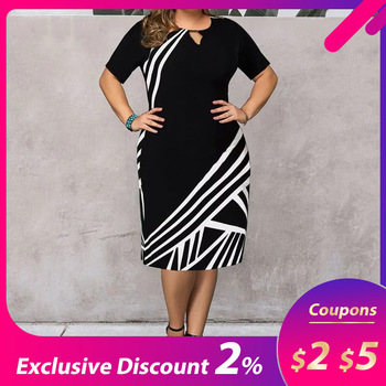 Vintage Sexy Striped Print Bodycon Midi Dress Popular Large Size Women Round Neck Short Sleeve Female Retro Elegant Chic Dress 1