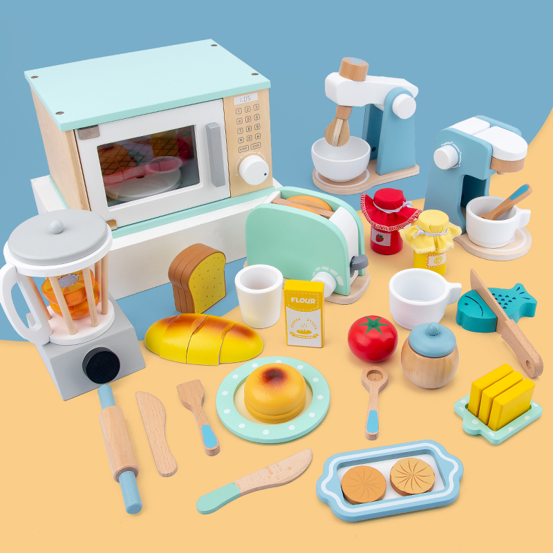 New Kids Wooden Pretend Play <font><b>Sets</b></font> Simulation Toasters Bread Maker Coffee Machine Blender Baking Kit Game Mixer <font><b>Kitchen</b></font> Role <font><b>Toys</b></font> image