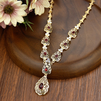 Sunspicems Fashion Crystal Pendant Necklace Wedding Jewelry For Women Morocco Algeria Caftan Necklace Arab Bridal Bijoux Gift 2