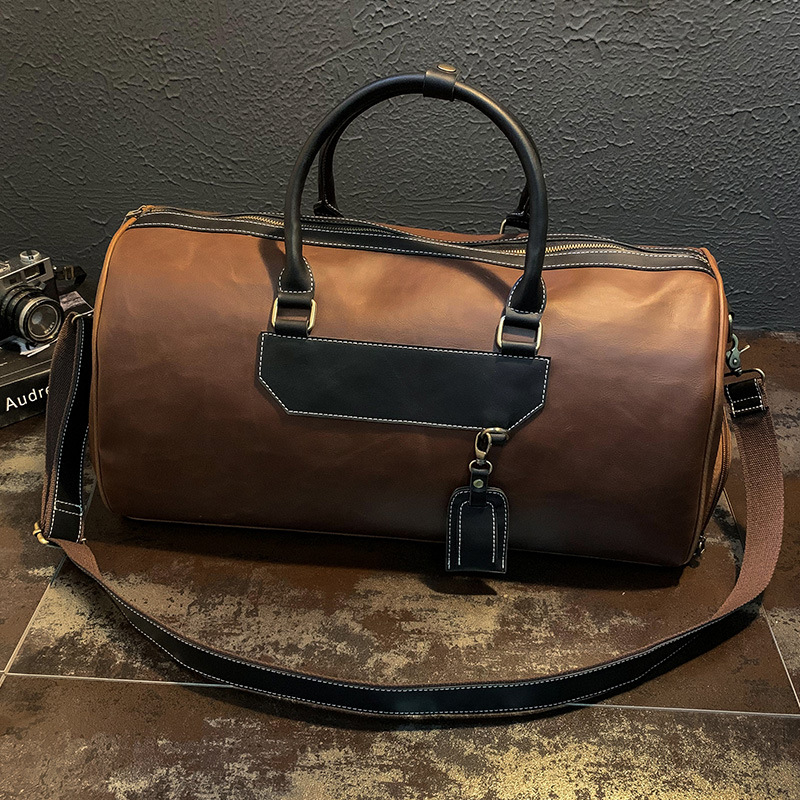 Men's shoulder bags with shoes travel bags retro crazy horse leather large luggage bags business casual men's bags tide