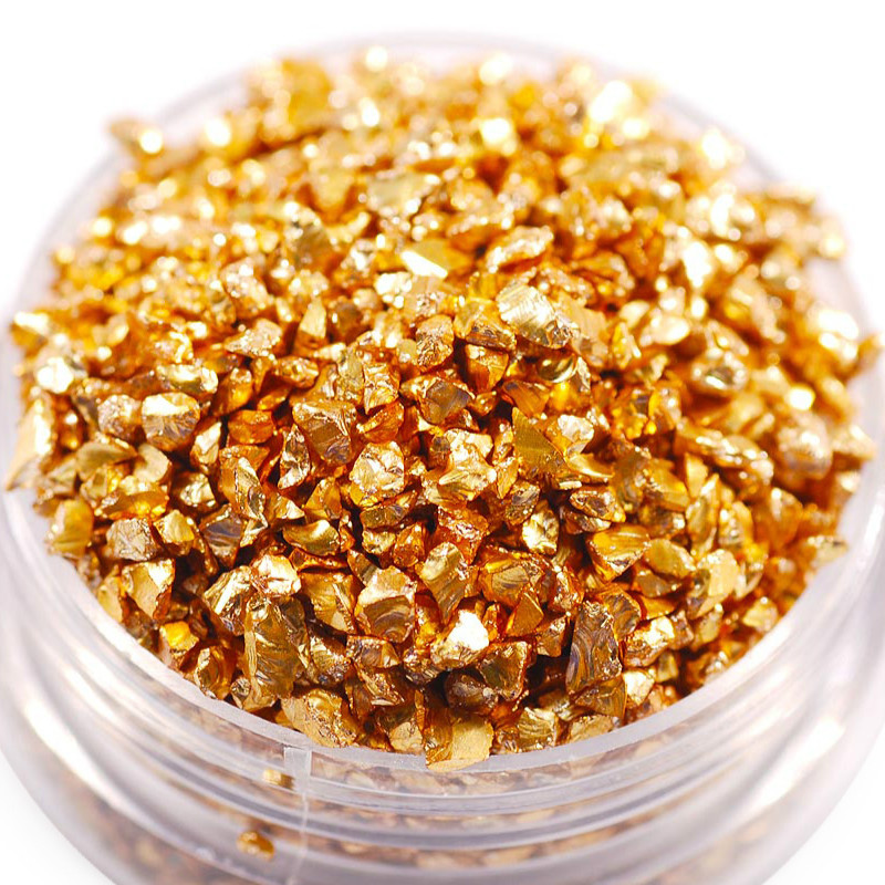 Fake Gold Stone Flakes Metallic Glass Glitter Sprinkles Resin Inclusions Embellishment For Resin Art Jewelry Making Supplies 50g