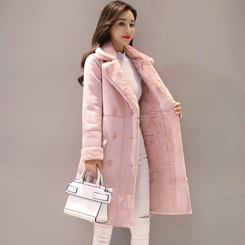 Femmes daim fourrure hiver manteau nouvelle mode épaisse fausse peau de mouton longue veste pardessus femme solide chaud Trench manteau