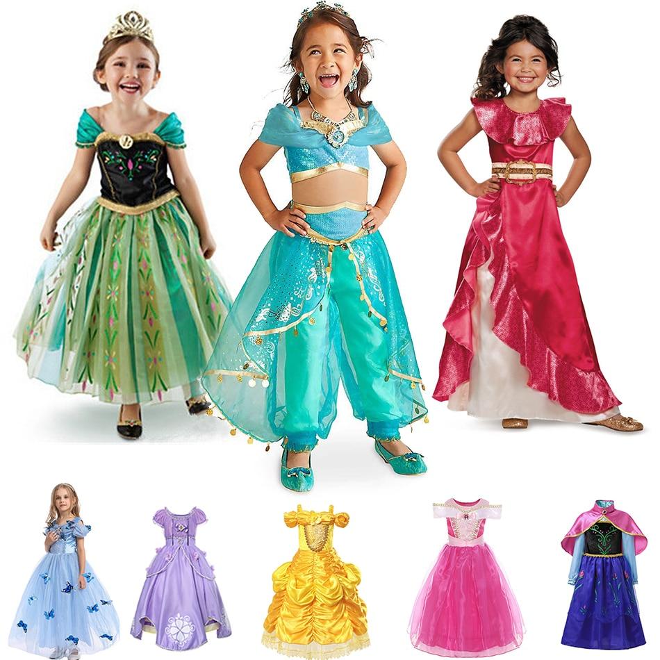 Girls Princess Dress Halloween Party Cosplay Jasmine Elena Anna Elsa Costumes Cinderella Rapunzel Belle Ariel Snow White Dresses