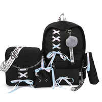 Chain Canvas female book bag backpack 5pcs/set schoolbag school bag travel pack fashion Tassel women teenage teenagers girl 2019