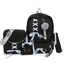 Chain Canvas female book bag backpack 5pcs/set schoolbag school bag