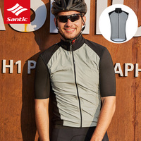 Santic Reflective Safety Vest Sleeveless Windproof Cycling Vest Jacket Windproof Bike Clothing Bicycle Riding Bike Jersey Coat