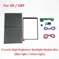 5 Levels Brightness Backlight LCD Screen Module Kits for GB / GBP Screen LCD Highlight (Blue light/ Yellow light) Backlit Mod