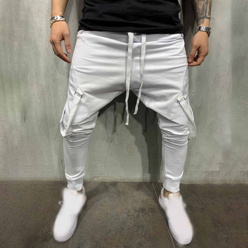 Trouser Slim-Fit Men's Pants Skinny Dance Sports Fashion Casual Solid Long Drawstring