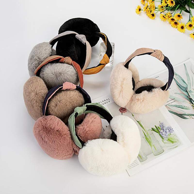 Cute Plush Bow Ears Warm Faux Fur Earmuff Women Headband Anti-freeze Ear Warm Plush Warm Protection Earmuffs