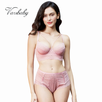 Varsbaby new french style sexy ultra-thin floral lace underwear unlined beauty back bra sets 1
