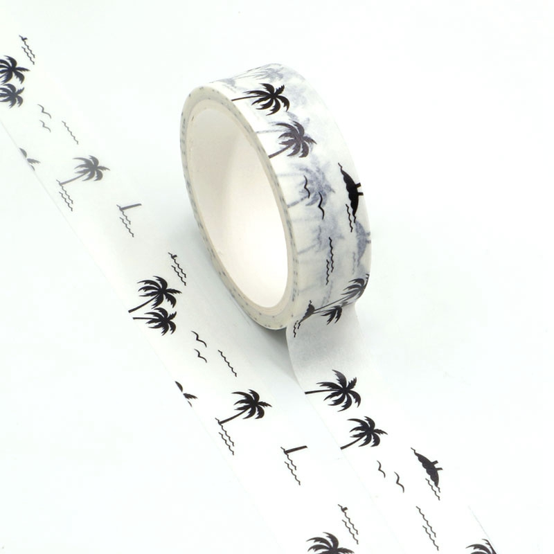 10pcs/lot Decor Silhouette Of Coconut Trees White Washi Tapes DIY Scrapbooking Planner Adhesive Masking Tapes Kawaii Stationery