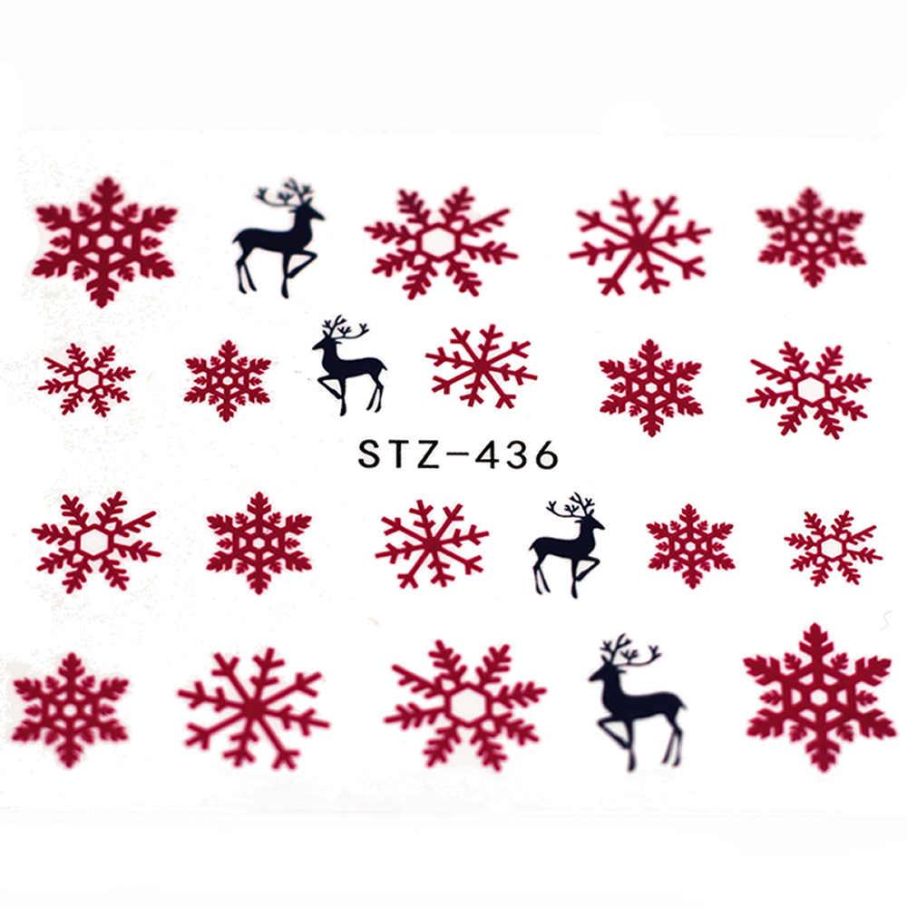 1 Pcs ยอดนิยมเกล็ดหิมะสีแดงรูปลอกเล็บและสติกเกอร์ดอกไม้ต้นไม้สีเขียวฤดูร้อนที่เรียบง่าย Slider สำหรับเล็บ Art ลายน้ำ
