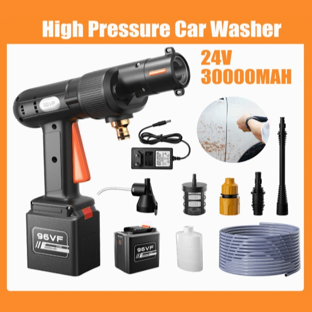 High Pressure Car Washer Water Gun 30000mah 24V Portable Pressure Washer Cordless Car Washing machine Cleaner Adjustable nozzle 1