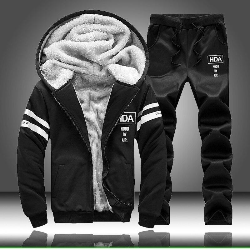 Tracksuit Men Fleece Hoodies Set 2020 Warm Sweatshirt Print Jogging Homme Thick Hoodie+Pants Sportswear Tracksuit Top And Pants