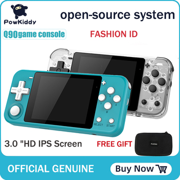 POWKIDDY Q90 otwarty podwójny System ręczny Retro konsola do gier 3 #8222 ekran HD IPS dzieci prezent 16 symulator wsparcie PS1 nowa gra 3D gry tanie i dobre opinie 3 0