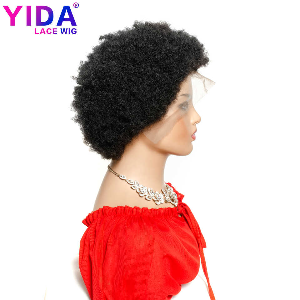 Afro corto Puff peluca brasileña 13x4 pelucas de encaje frontal Color Natural Remy Afro rizado pelucas de cabello humano para mujeres negras 150% YIDA