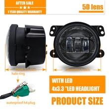 Pair 4 Inch 30W 6000K Round Led Fog Lights Projector Driving Fog Lamps Amber/Yellow For Jeep Wrangler JK TJ LJ Dodge Journey цена 2017