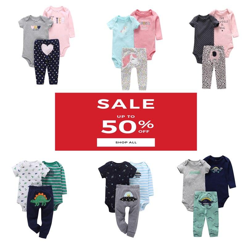 Baby Boy Girl Clothes Cartoon Set Long Sleeve O-neck Bodysuit+pants Newborn Clothing Unisex New Born Costume Cotton 2020