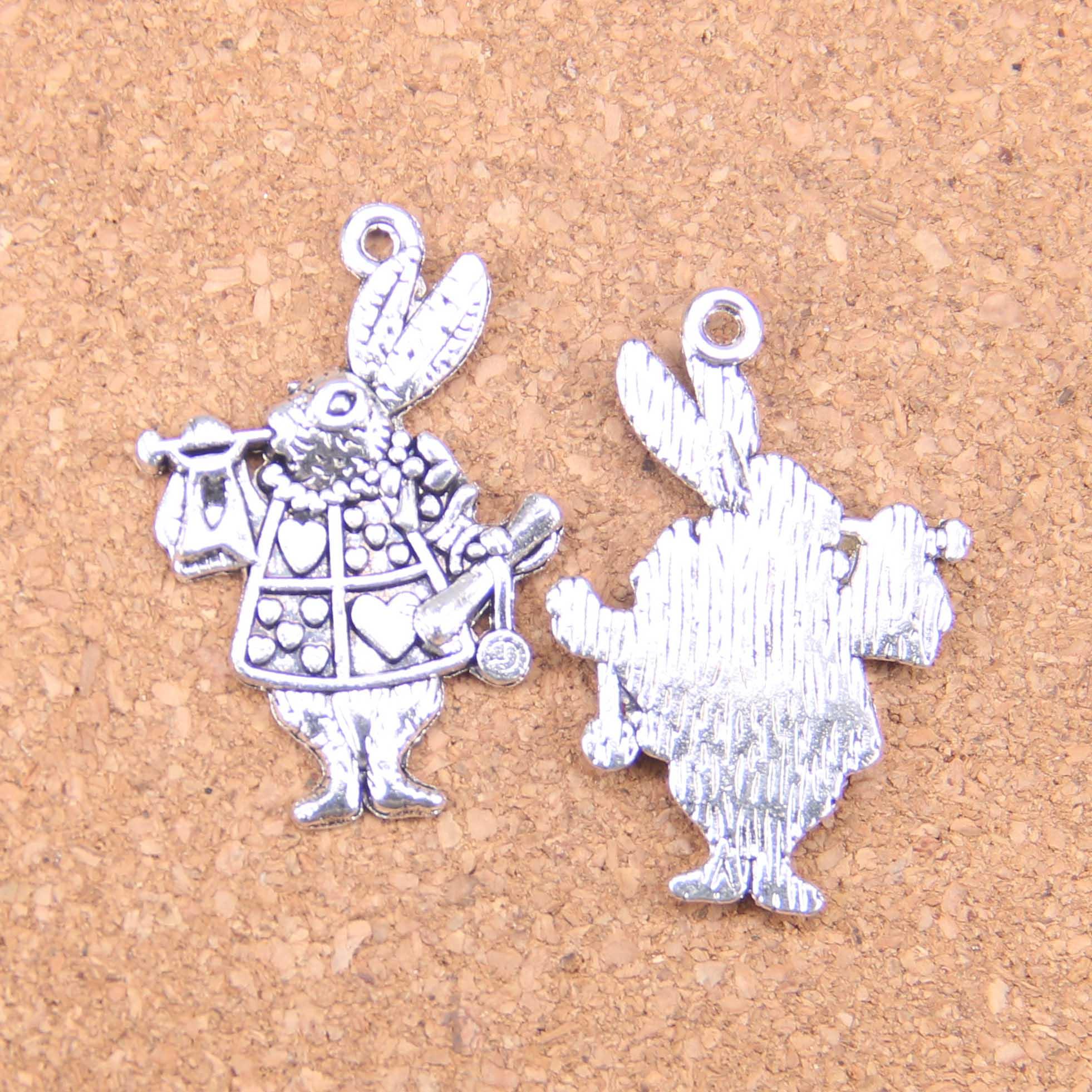 Spirited 26pcs Charms Musical Rabbit Trumpet 36x23mm Antique Pendants,vintage Tibetan Silver Jewelry,diy For Bracelet Necklace