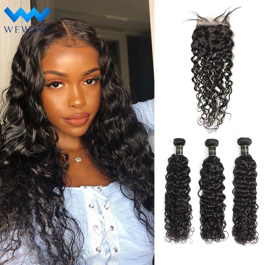 Water Wave Wet And Wavy Bundles With Closure Brazilian Hair Weave Bundles Long Virgin Natural Human Hair Extensions Bundle Deals