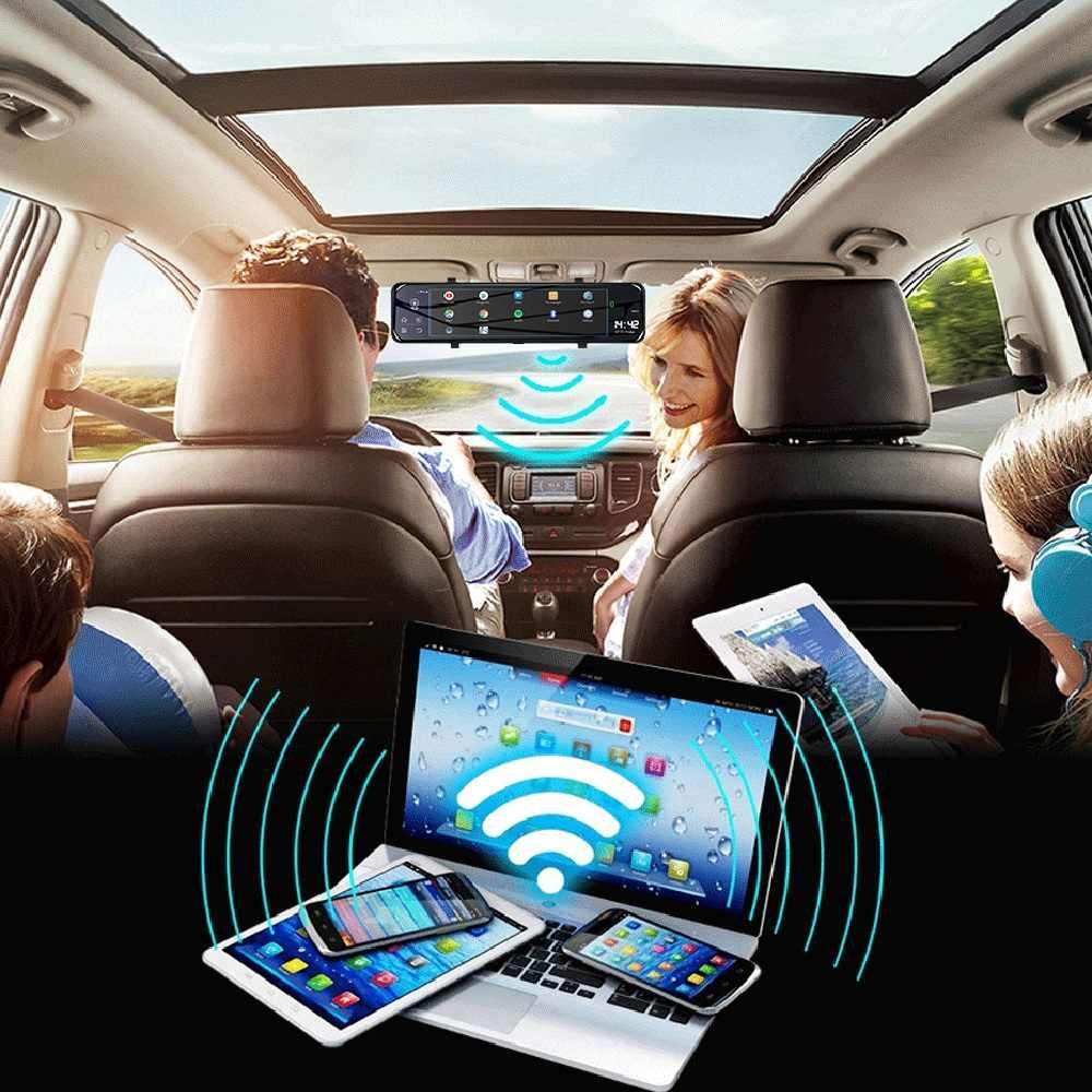 Mới Nhất 12 Inch 4G ADAS Android 8.1 DVR Xe Ô Tô Gương 1080P Dash Camera GPS Wifi Bluetooth Chiếu Hậu Xe Ô Tô kính Nhìn Xuyên Đêm Dash Cam