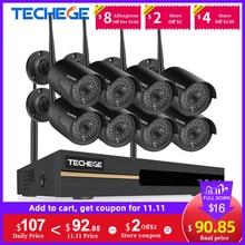 Techege 8CH 3MP système de caméra de sécurité sans fil CCTV H.265 Kit de système de sécurité en plein air P2P Kit de caméra de Surveillance vidéo