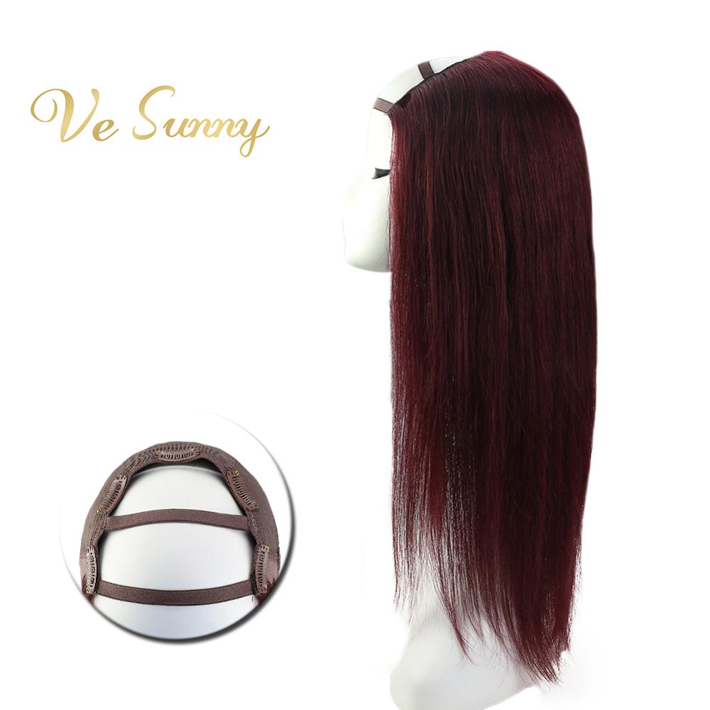VeSunny One Piece U Part Half Wig 100% Real Human Hair With Clips On #99J Deep Wine Dark Red Machine Made Remy Hair 12-24 Inches