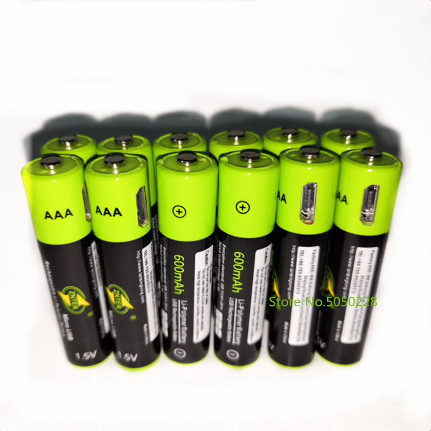 12PCS ZNTER 1.5V AAA rechargeable battery 600mAh USB rechargeable lithium polymer battery children's toy rechargeable battery image